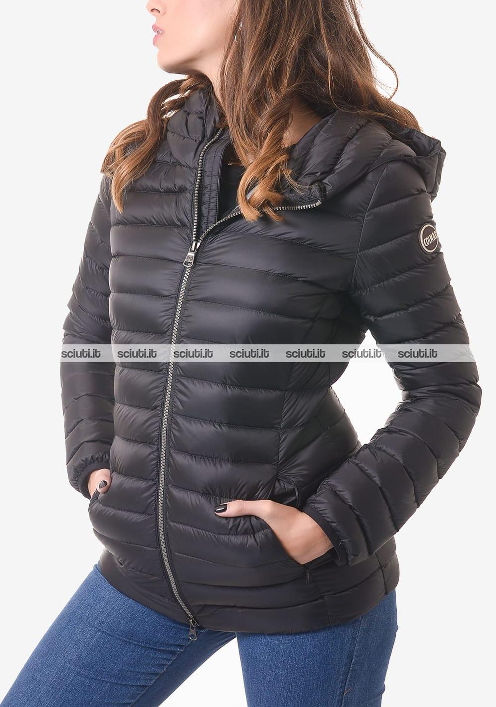Piumino Colmar donna nero pesante lungo con cappuccio