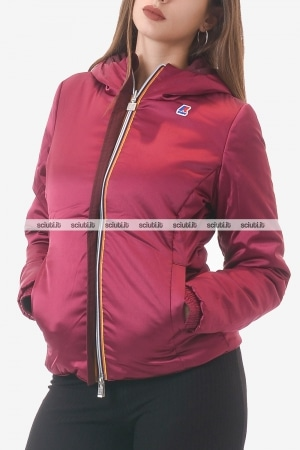 Giubbotto Kway donna bordeaux/rosso scuro reversibile Lily warm double