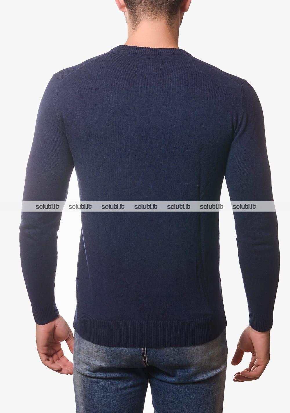 Maglione Guess uomo blu scuro logo righe | Sciuti.it
