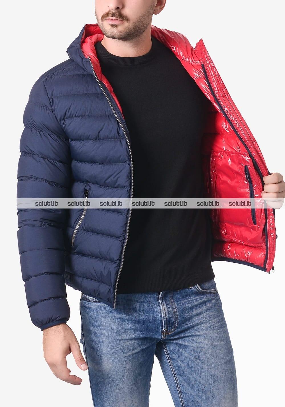 Piumino blauer uomo rosso lucido ad onde booth con cappuccio sciuti rosa giacche invernali