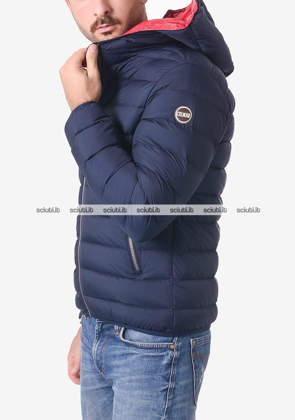 Piumino Colmar uomo blu scuro opaco pesante con cappuccio