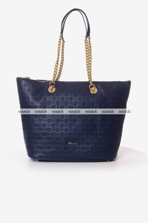 Borsa shopping Pollini Heritage donna blu scuro Embossed