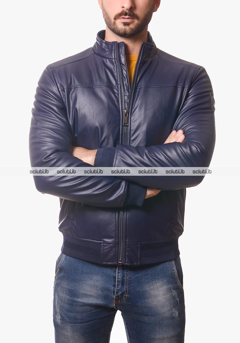 Giubbotto Guess uomo blu scuro senza cappuccio ecopelle