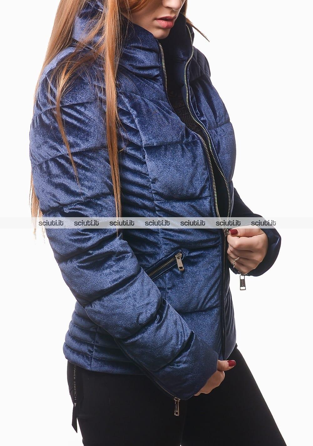 Giubbotto Guess donna blu scuro imbottito effetto velluto