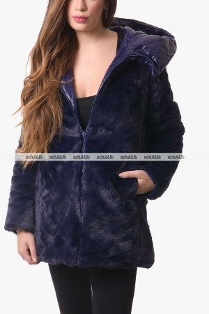 Cappotto Save the duck donna blu scuro reversibile con cappuccio