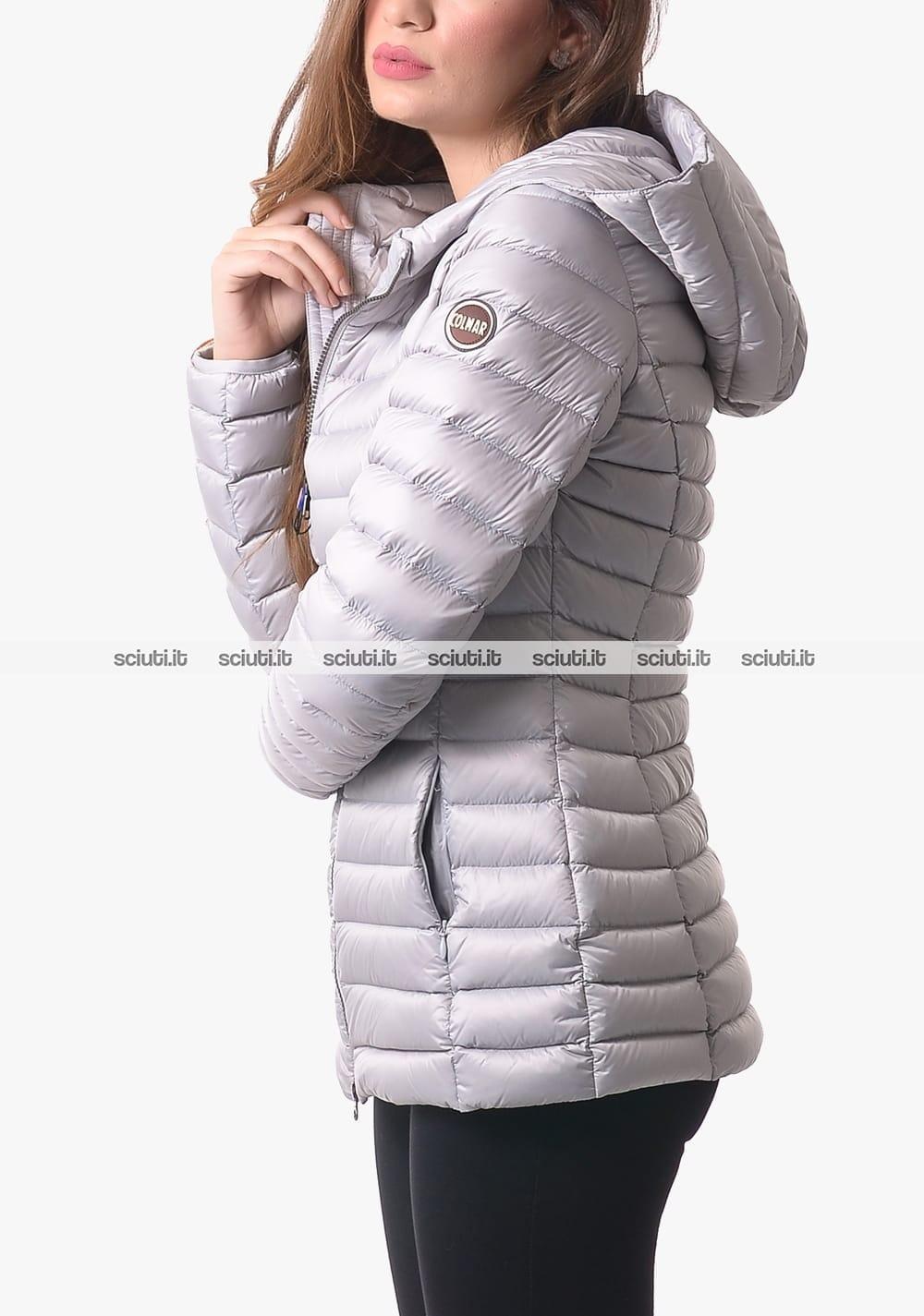 Piumino pesante Colmar donna con cappuccio grigio chiaro
