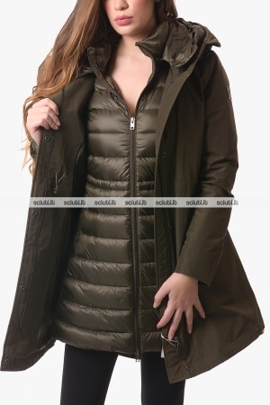 Parka 3 in 1 donna Woolrich donna verde militare Military
