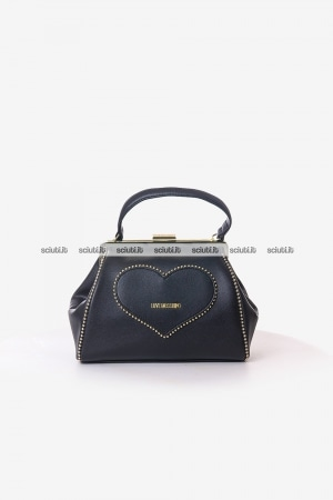 Borsa a mano Love Moschino donna nera Studded heart