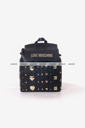 Zaino Love Moschino donna nero con borchie