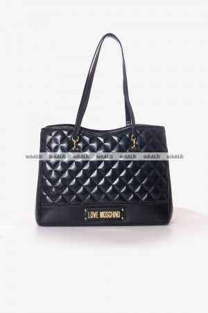 Borsa shopping Love Moschino donna nera trapuntata