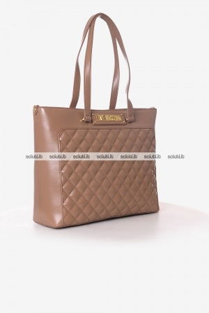 Borsa shopping Love Moschino donna beige scuro trapuntata