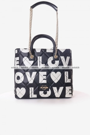 Borsa a spalla Love Moschino donna nera trapuntata maxi logo all over