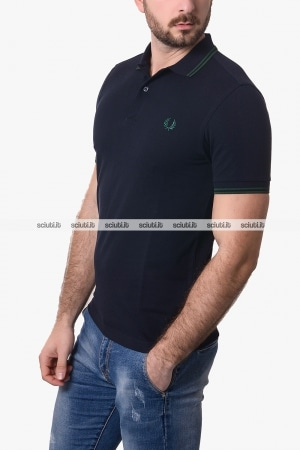 Polo Fred Perry uomo twin tipped blu scuro verde