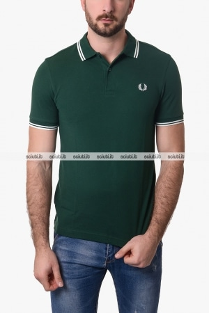 Polo Fred Perry uomo twin tipped verde scuro bianco