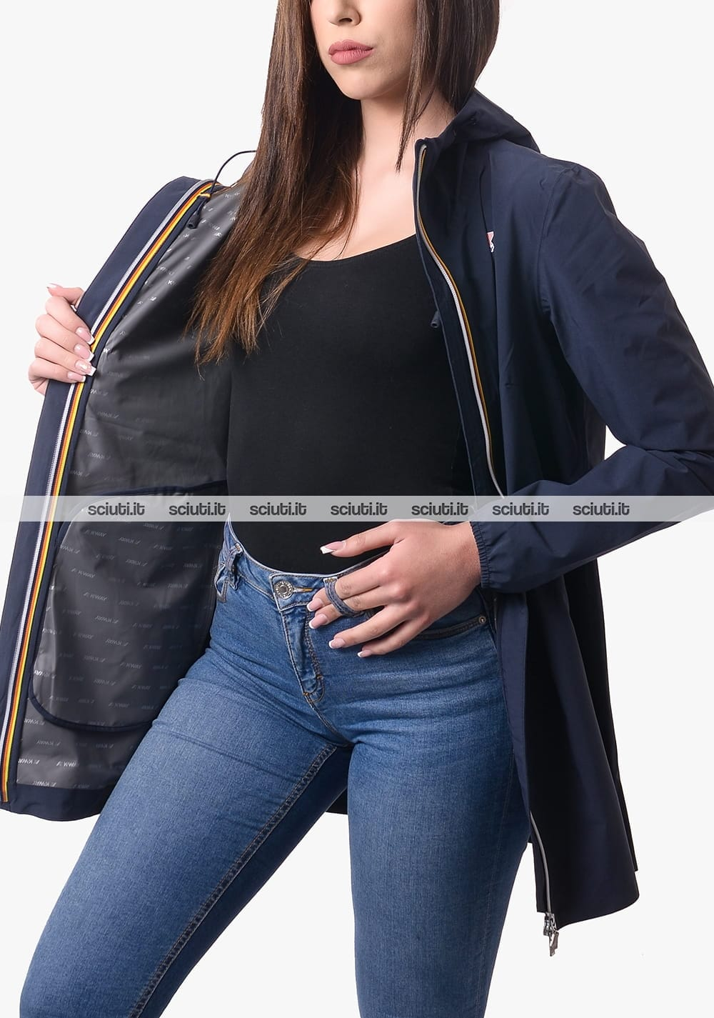 per autunno e inverno elastan. casual Blu in tinta unita poliestere caldo Kuizhiren1 Cappotto lungo da donna 4XL Nylon