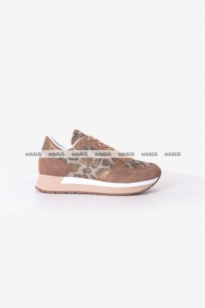 Scarpe SUN68 donna beige Kate animal flash