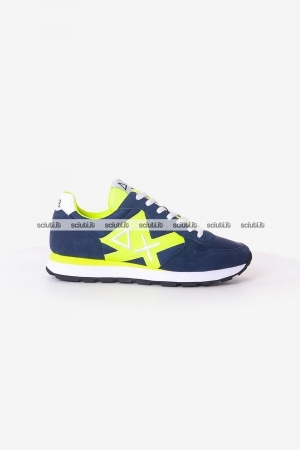 Scarpe SUN68 uomo blu scuro Tom logo patch fluo