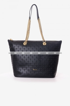 Borsa a spalla Pollini Heritage donna nera Embossed logo all over