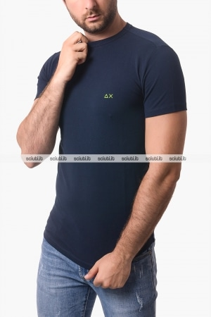 Tshirt SUN68 uomo blu scuro in piquet
